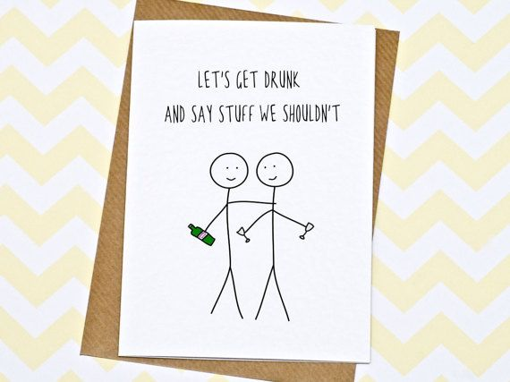 Birthday Card  Funny Card  Greetings Card  Let's by GinBunnyPrints