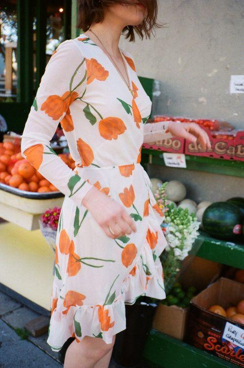 GANNI | Tilden Tulip Mesh Wrap Dress - Vanilla Ice
