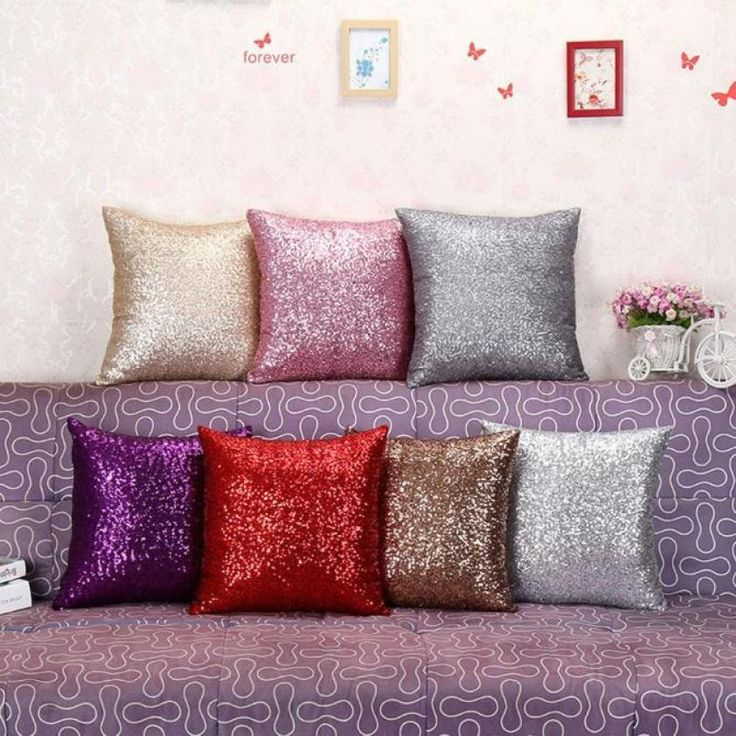 Fashion 40*40cm Solid Color Glitter Sequin Throw Pillow Case Cafe Home Decor Cushion Covers Home Decor Car Seat Sofa Decorative
