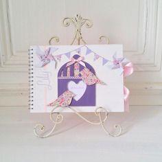 Livre d'or baptême pastel oiseau moulin à vent lily - liberty phoebe lilas - l'instant c
