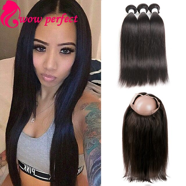 HOT straight hair with closure 360 frontal with 3 bundles indian virgin hair  with frontal closure