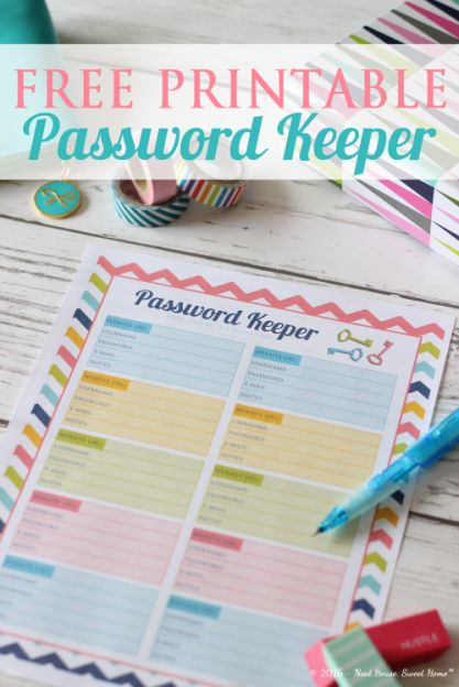 Password Keeper for Online Accounts - printable free to download - Neat House, Sweet Home