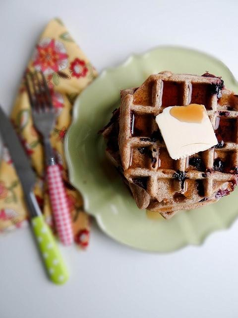Blueberry Cinnamon Sourdough Waffles
