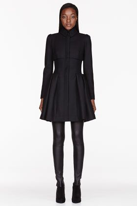 Alexander McQueen Black Felt Pleated Victorian Coat for women | SSENSE