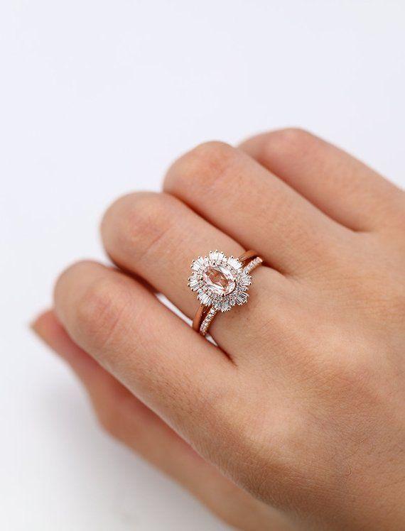 Rose Gold Morganite Engagement Ring Set Vintage Unique Halo