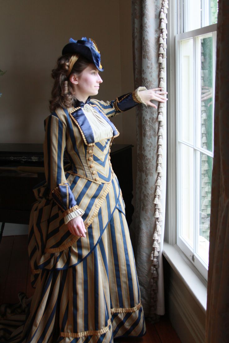 Victorian Bustle Gown Interesting Play On Stripes Find This Pin And More