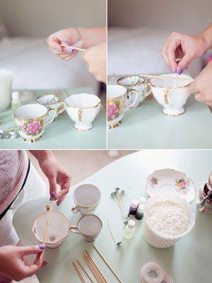 DIY Vintage Teacup Candles | Wedding Planning, Ideas & Etiquette | Bridal Guide Magazine