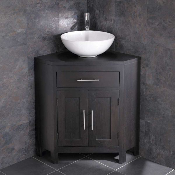 Large Corner Dark Oak Vanity Unit With Round Basin Bundle 400mm Diameter Ceramic Sink With Tap And Waste Alta Corner Bathroom Vanity Corner Sink Bathroom Corner Vanity