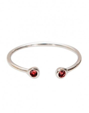 Pink Lou Lou Silver Fine Ring with Ruby Bezel