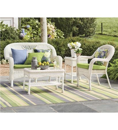 Prospect Hill Outdoor Resin Wicker Furniture Seating Set   Chair, Settee  And Coffee Table