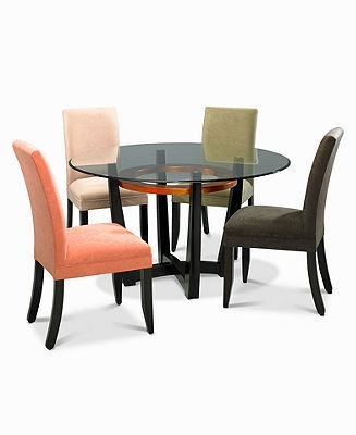 Cappuccino dining room furniture round 5 piece set table Macy s living room furniture sale