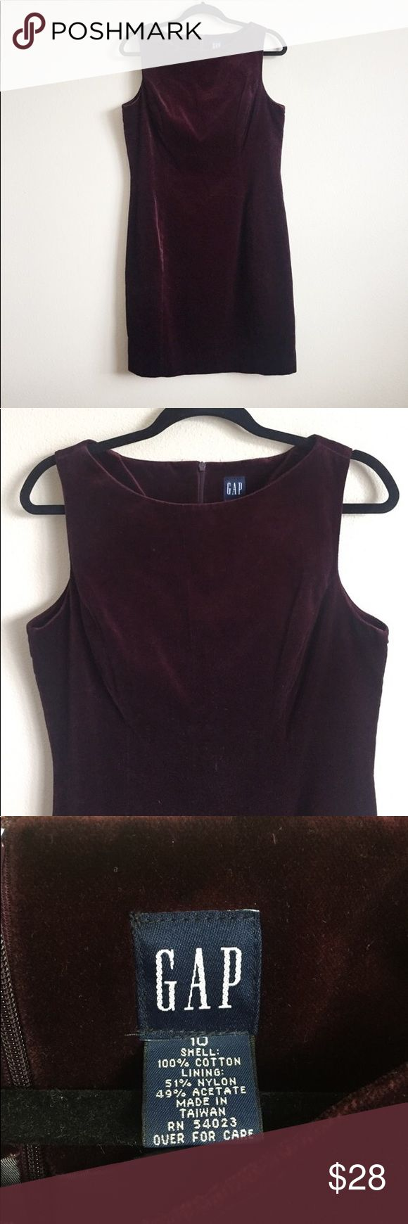 "* GAP * Soft velvet dress from Gap. Color is a beautiful burgundy. Fully lined. Zip closure on back. No slits on the hemline. Length is 36"". Not from the outlet store. In perfect condition. GAP Dresses"