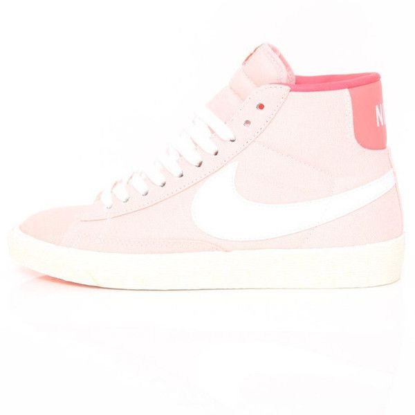 Nike Wmns Blazer High (Vntg) Storm Pink/ White Hot 512709-616... ❤ liked on Polyvore featuring shoes and nike