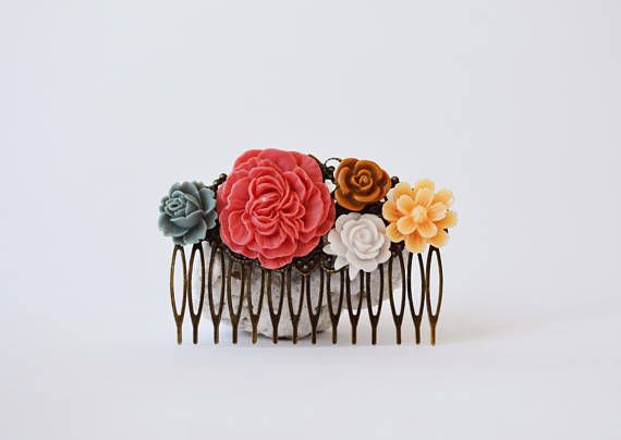 Colorful Floral Hair Comb Salmon Peach Gray Brown Vintage