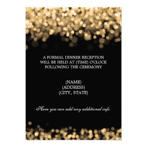 Wedding Reception Gold Lights Personalized Announcement