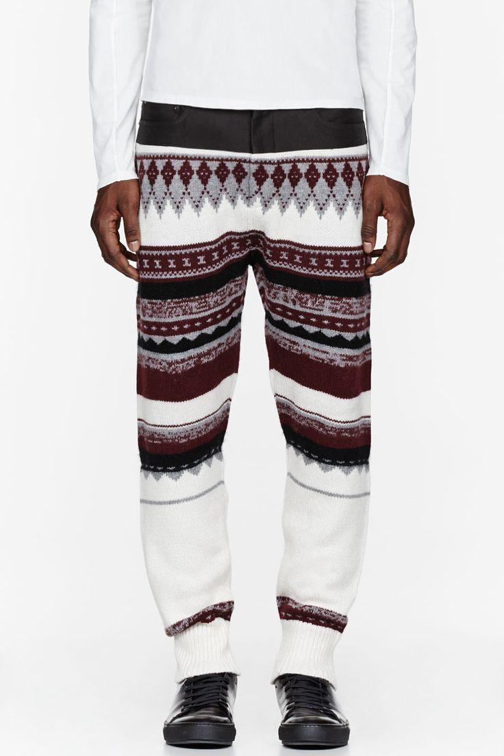3.1 Phillip Lim Burdgundy Knit Long John Pants for men   SSENSE