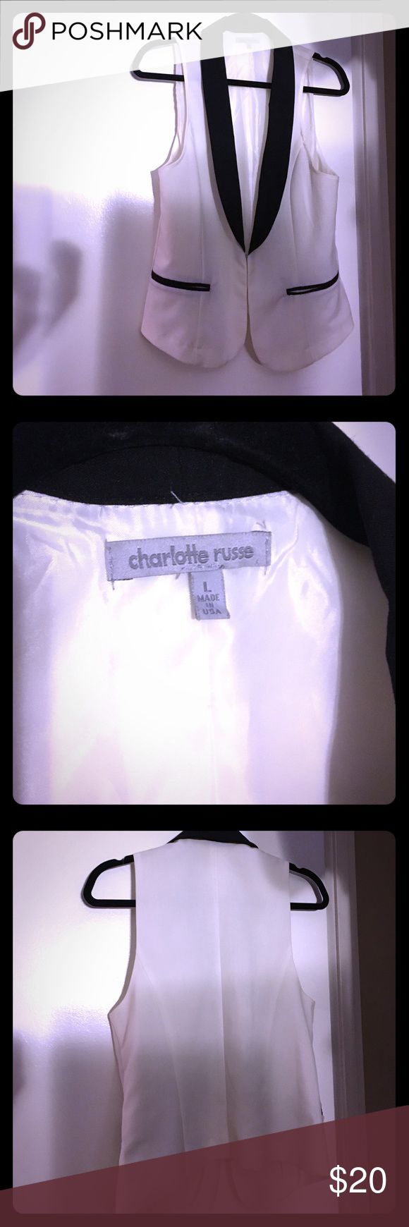 Black and white suit vest Casual & super cute black and white vest only worn once so in like new condition! Charlotte Russe Tops