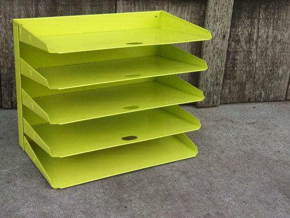 Vintage Key Lime Metal 5 Shelf Desk Paper Tray Office