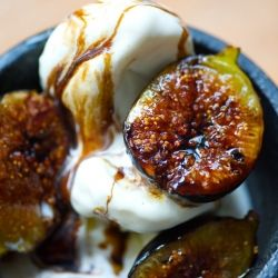 grilled figs with ice cream olive oil & balsamic.