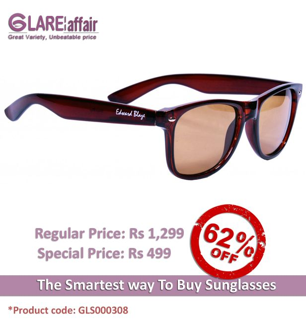 EDWARD BLAZE EB-D801 BROWN WAYFARER SUNGLASSES http://www.glareaffair.com/sunglasses/edward-blaze-eb-d801-brown-wayfarer-sunglasses.html  Brand : Edward Blaze  Regular Price: Rs1,299 Special Price: Rs499  Discount : Rs800 (62%)