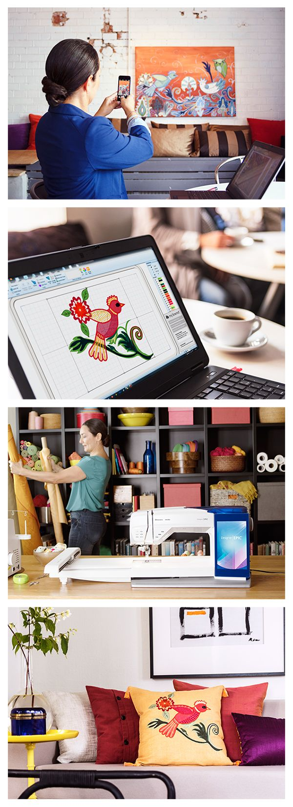 Creativity Anywhere! mySewnet™ Cloud Storage lets you create, store and access your designs from anywhere, then sync them wirelessly to your DESIGNER EPIC™ sewing and embroidery machine!