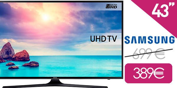 ¡PRECIO MÍNIMO! Smart TV Samsung UHD 4K de 43″ solo 389€ ¡¡Ahorras 300 euros!!  ¿Buscas una Smart TV barata? Consigue aquí laSamsung UHD 4K de 43″ Si crees que ha llegado el momento de cambiar tu viejo televisor por uno de esos modernos que tienen internet, USB y una calidad de imagen brutal y no quieres gastarte un dineral…¡¡ESTA ES TU OPORTUNIDAD!! Puedes comprar...