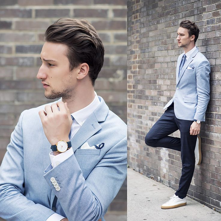 Shop this look on Lookastic:  http://lookastic.com/men/looks/watch-dress-shirt-low-top-sneakers-dress-pants-pocket-square-tie-blazer/4174  — Navy Watch  — White Dress Shirt  — White Leather Low Top Sneakers  — Navy Dress Pants  — White Pocket Square  — Blue Tie  — Light Blue Blazer
