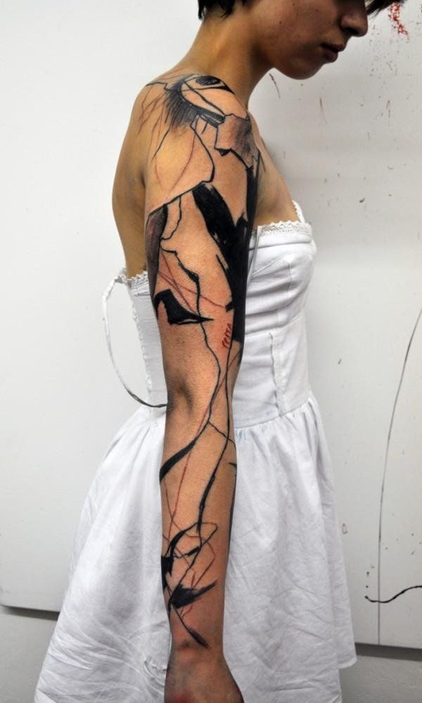abstract full sleeve tattoo - 40 Mind Blow Abstract Tattoos