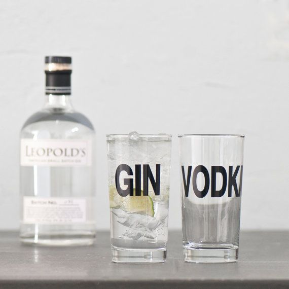 Gin and Vodka  set of two hand printed collins glasses by vital, $24.00
