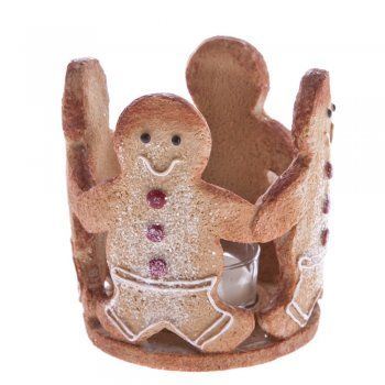 Gisela Graham Christmas Gingerbread Men Resin Tea Light Holder - Gisela Graham Christmas from Mollie & Fred UK