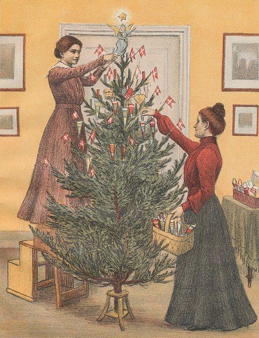 Juletræet pyntes