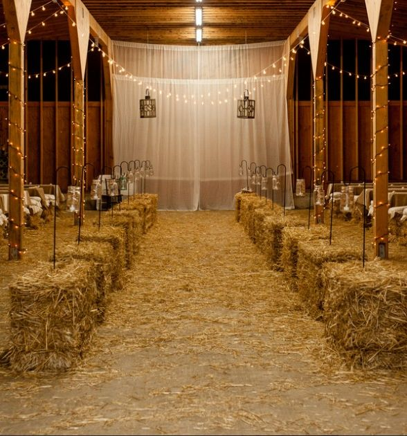 Ten Great Ways to Use Hay Bales in Your Wedding -- The picture shown is the only idea I REAAAALLY like. It looks completely classy! -TH