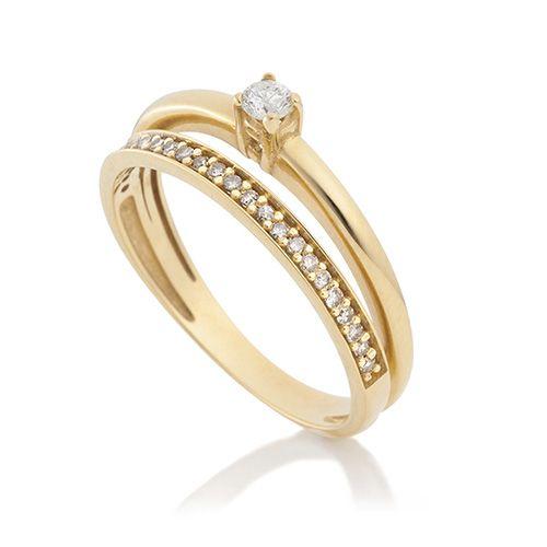 Anel em ouro amarelo 18k e 20 pts de diamantes - Coleção Solitário
