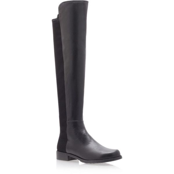 Stuart Weitzman Black Leather Knee High 5050 Boots (£470) ❤ liked on Polyvore featuring shoes, boots, slip on flats, leather boots, black slip on boots, black leather boots and knee high leather boots