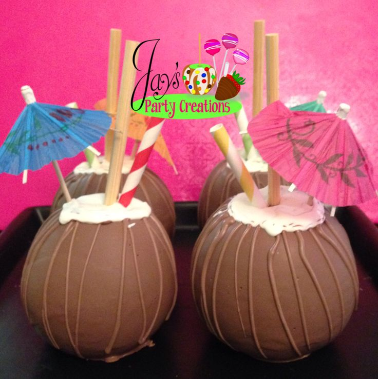 Chocolate covered caramel apples... Made to look like coconuts for a luau themed party