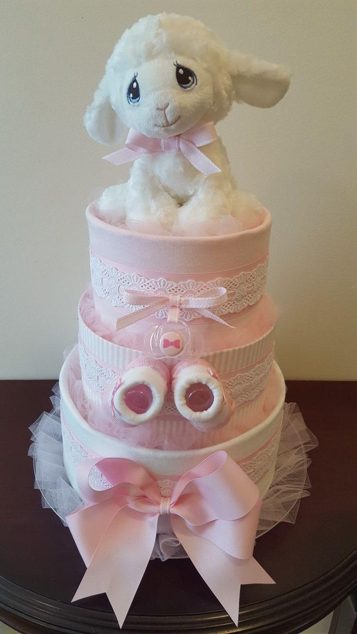 Precious Little Lamb Diaper Cake Its A Girl Baby Shower -9304