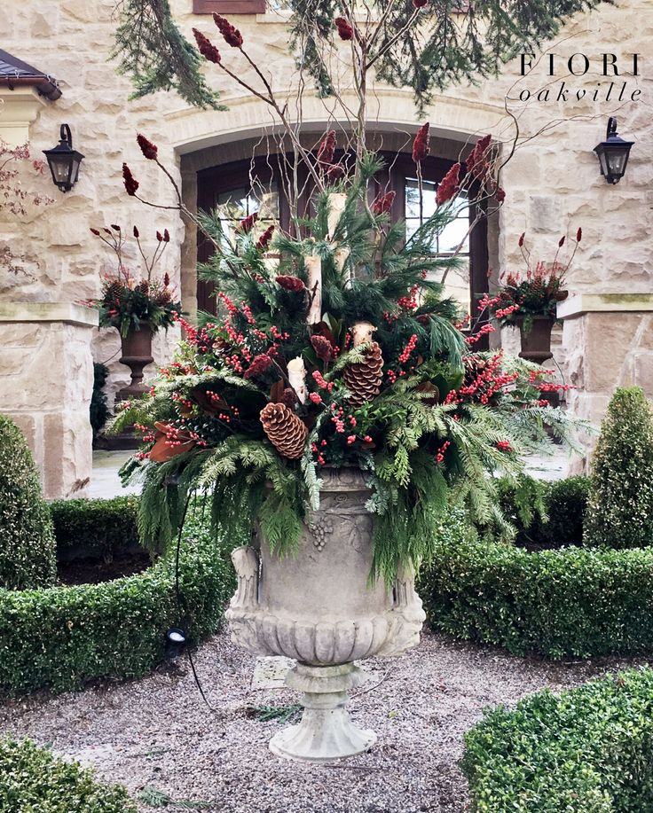 Christmas decor and onsite services. Very proud of the outcome of this stunning Christmas planter we created for one of our Oakville customers. Middle of November is usually the best time to have them done before the ground freezes. Give us a call to arrange an onsite visit