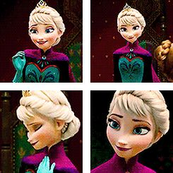 Elsa<< I love how in every gif, Elsa is actually happy and smiling for once. And even if it's just for a moment, she forgets about her fear of losing control of her powers; she isn't afraid anymore. And the person who makes her feel like that is Anna.
