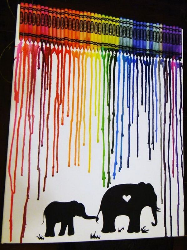 Crayon Melting Art with Elephants. Fantastic Melted Crayon Art Ideas.