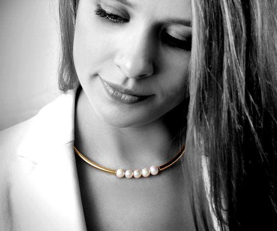 Pearl necklace,bridal necklace,wedding necklace,tube necklace,pearl jewelry,gold necklace,choker necklace,choker jewelry