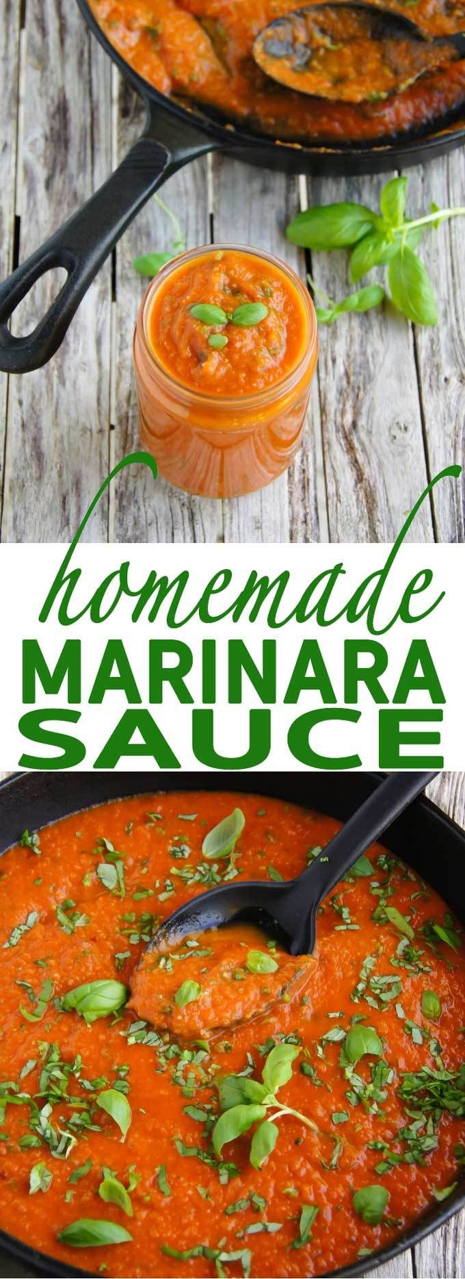Authentic, Italian Homemade Marinara Sauce recipe is perfect on a pizza crust, with vegetables or as a soup base. Delicious, easy and quick!