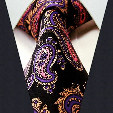 zakelijk zwart zijden bloemenprint stropdas – EUR € 8.08