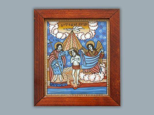Botezul Domnului_icoana pe sticla_Simona Duma
