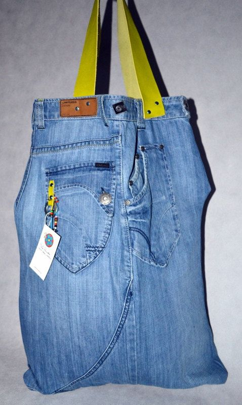 LIME -bag made from women's jeans-REmake by La Rosette