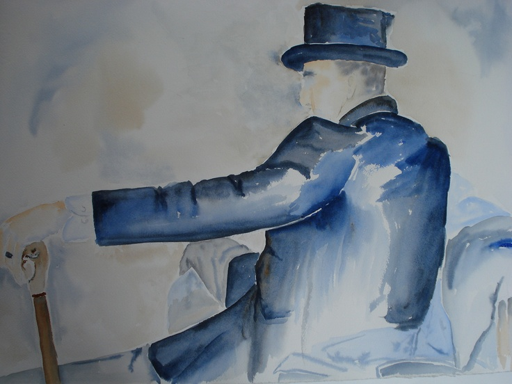 Watercolour - two colours - Ultramarine Blue and Burnt Sienna
