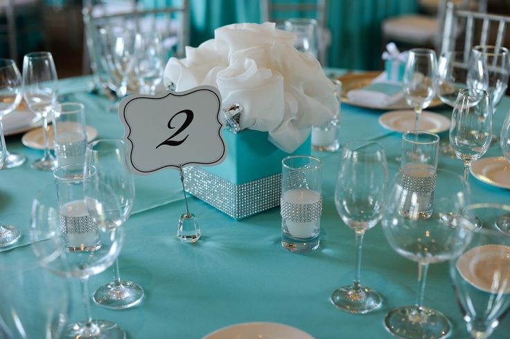 blue centerpieces - could use a chalkboard style table number. they would be so easy to make