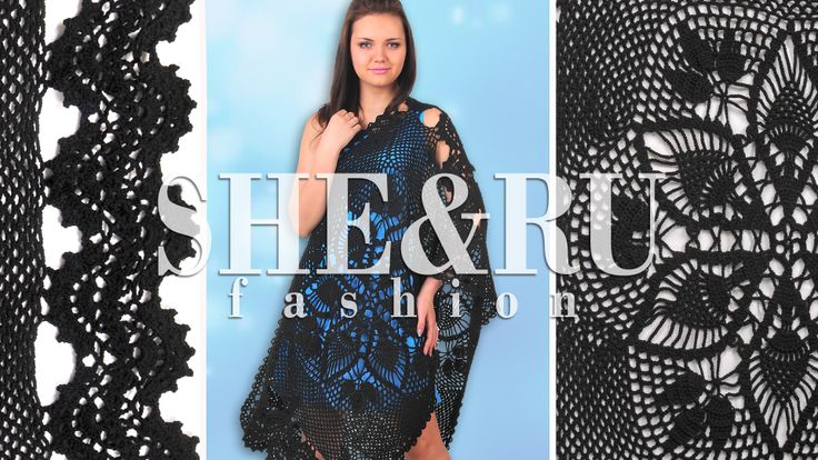 Crochet Round Motif and Stripe Wrap Model 12 http://sheruknitting.com ...