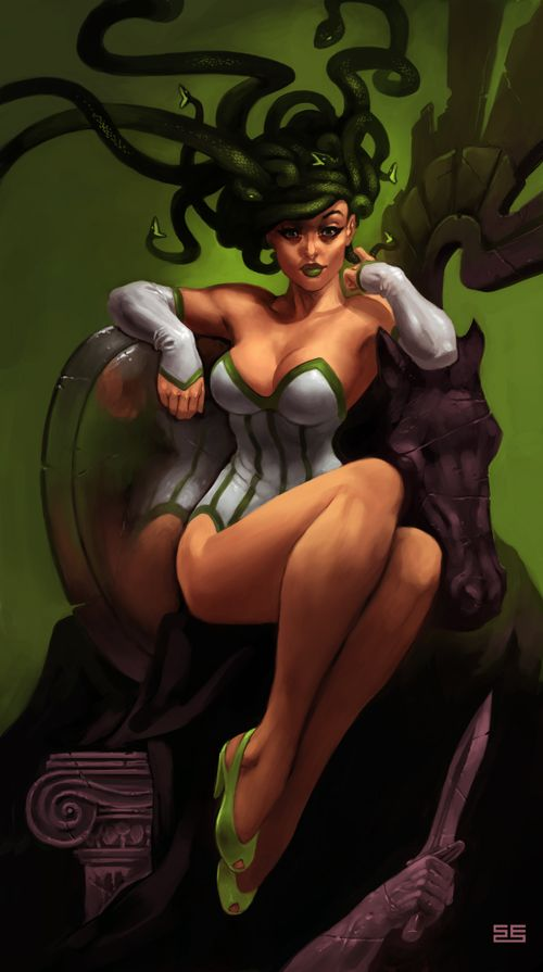 OMG! This reminds me of my Medusa tattoo idea! First pinup Medusa I've seen outside of that manefestation and I REALLY Like it.