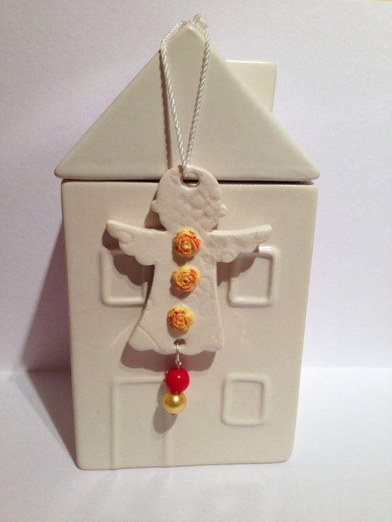 Handmade Ceramic Angel yellow red flowers bird by DelabudCreations