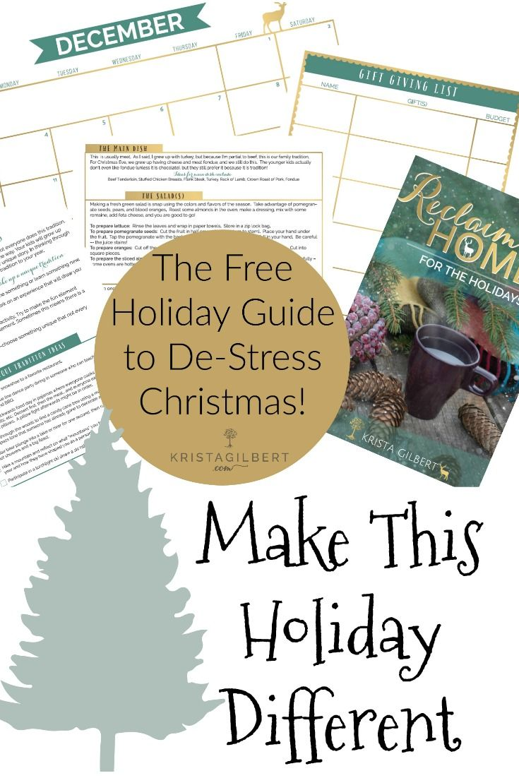 Do you want more peace this holiday season?  The key is planning well.  Use this ebook to organize your gift giving, traditions, schedule, and food plan.